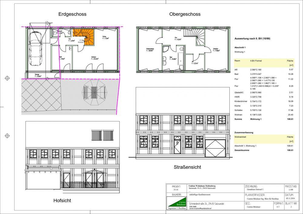 Ansichten Grundrisse und Flächen
